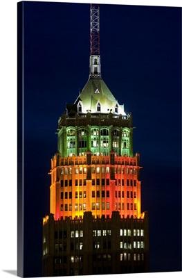 Tower lit up at night, Tower Of The Americas, San Antonio, Texas