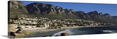 Town at the coast with a mountain range in the background, Twelve Apostle, Camps Bay, Cape Town, Western Cape Province, Republic of South Africa