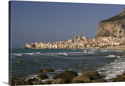 Town at the waterfront, Cefalu, Sicily, Italy