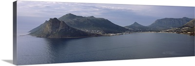 Town surrounded by mountains, Hout Bay, Cape Town, Western Cape Province, Republic of South Africa