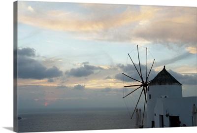 Traditional windmill on the coast, Oia, Santorini, Cyclades Islands, Greece