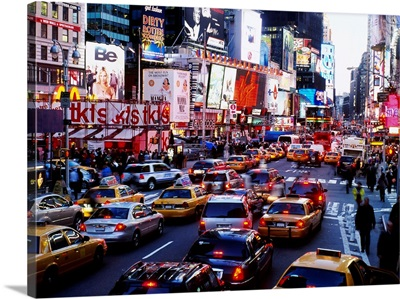 Traffic on a road in a city, Times Square, Manhattan, New York City, New York State