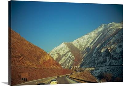 Traffic on the road, Interstate 80, Wasatch Mountains, Salt Lake City, Utah