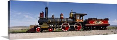 Train engine on a railroad track, Locomotive 119, Golden Spike National Historic Site, Utah