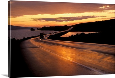 Truck on a highway at sunset, Trans Canada Highway, New Brunswick, Canada