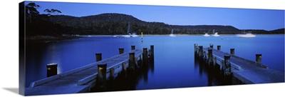 Twin jetty in the sea, Coles Bay, Tasmania, Australia