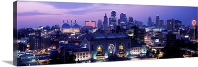 Union Station at sunset with city skyline in background, Kansas City, Missouri, USA II