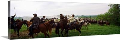Union vs. Confederacy Pea Ridge Civil War Battle Reenactment, Ozark Mountains, Arkansas,