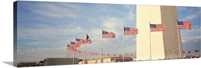 United States Flags at the base of Washington Memorial in Washington D.C