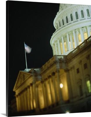 US Capitol Building illuminated at night, Washington DC