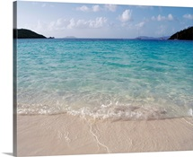 US Virgin Islands, St. John, Virgin Islands National Park, Panoramic view of Hawksnest Bay