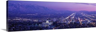 Utah, Salt Lake City, aerial, night