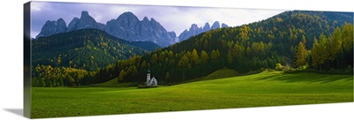 Valley with a church and mountains in the background, Santa Maddalena, Val De Funes, Le Odle, Dolomites, Italy