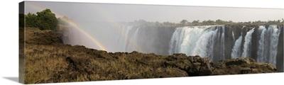 Victoria Falls with rainbow in the mist, Zambezi River, Zimbabwe