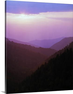 View of misty Smoky Mountains from overlook, sunset, Tennessee