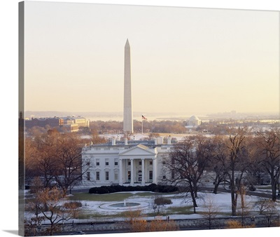 View of the White House and Washington Monument at sunset, Washington DC