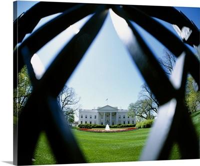 View of the White House through a diamond shape in the fence, Washington DC