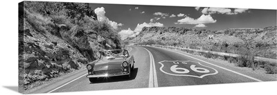 Vintage car moving on the road, Route 66, Arizona