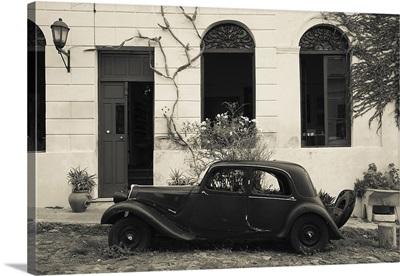 Vintage car parked in front of a house, Calle De Portugal, Colonia Del Sacramento, Uruguay