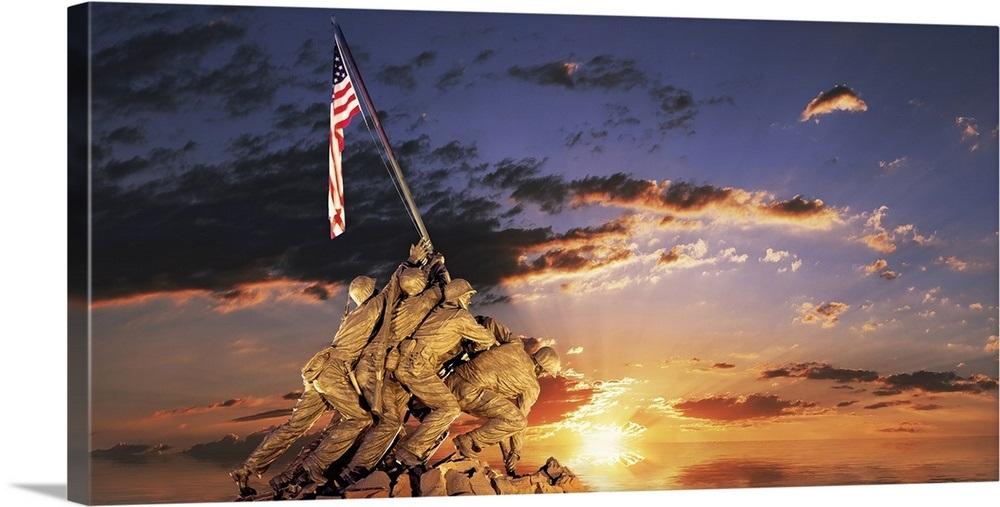 War Memorial At Sunrise Iwo Jima Memorial Rosslyn