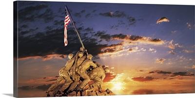 War memorial at sunrise, Iwo Jima Memorial, Rosslyn, Arlington, Arlington County, Virginia