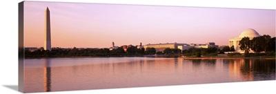 Washington DC, Tidal Basin, Washington Monument and Jefferson Memorial