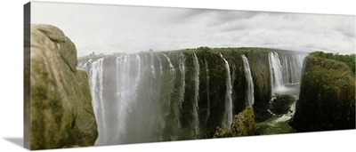 Water falling into a river, Victoria Falls, Zimbabwe, Africa