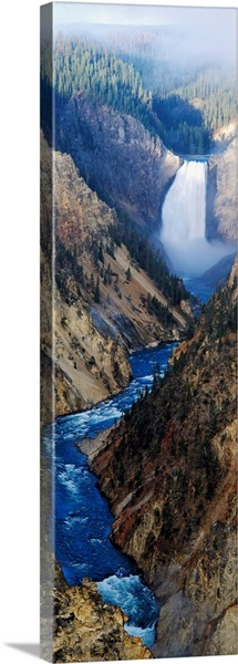 Waterfall falling into stream through a canyon, Yellowstone National Park, Wyoming