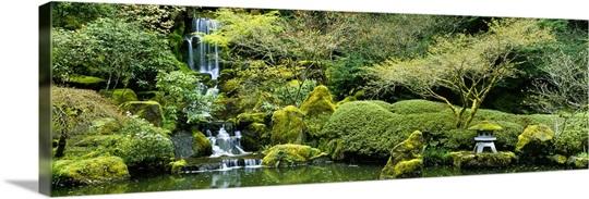 Waterfall in a garden, Japanese Garden, Washington Park, Portland ...