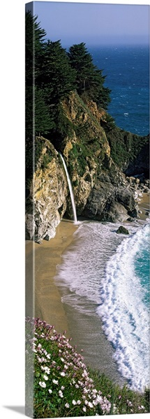 Waterfall on the coast, McWay Cove Waterfall, Julia Pfeiffer Burns State Park, Monterey County, California