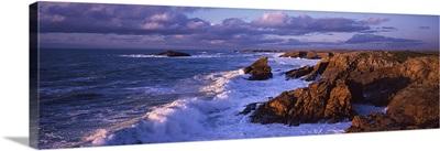 Waves breaking on rocks, Baie De Quiberon, Quiberon, Morbihan, Brittany, France