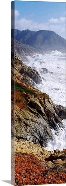 Waves breaking on rocks, Big Sur, Carmel, Monterey County, California