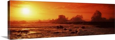 Waves breaking on rocks in the sea, Three Tables, North Shore, Oahu, Hawaii,