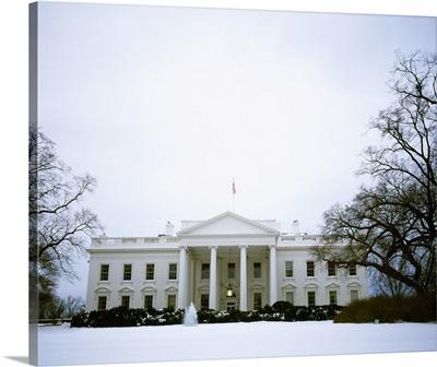 White House with snow at dusk, Washington DC