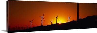 Wind turbines at dusk, Palm Springs, California