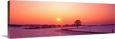 Winter Sunset near Adelzhausen Germany