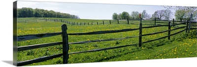 Wooden fence in a farm, Knox Farm State Park, East Aurora, New York State
