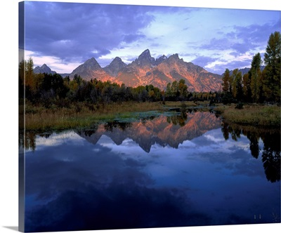 Wyoming, Grand Teton National Park, Panoramic view of a mountain range
