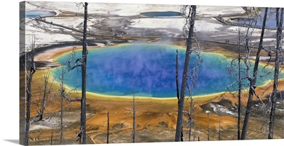 Wyoming, Yellowstone National Park, Grand Prismatic Pool, Tourists walking around the thermal pool