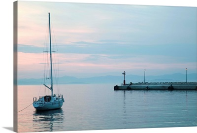 Yacht in the sea, Supetar, Brac Island, Dalmatia, Croatia