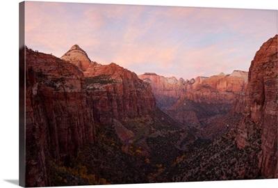 Zion Canyon at sunset, Zion National Park, Springdale, Utah