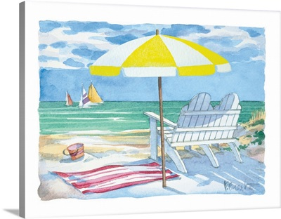 Beach Duet - Yellow Umbrella