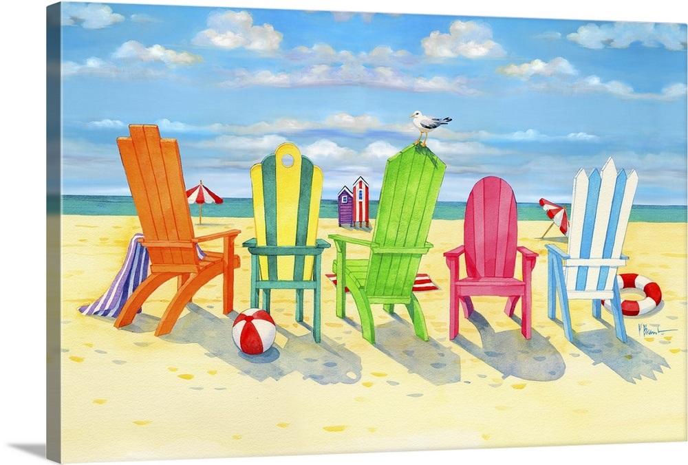 Brighton Beach Chairs Wall Art