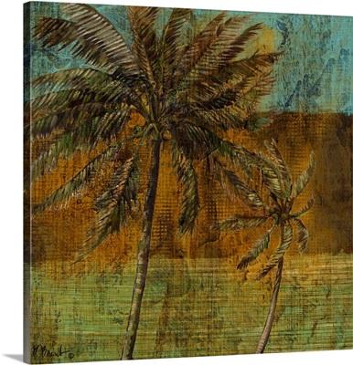 Contemporary Palm III - Square Blue