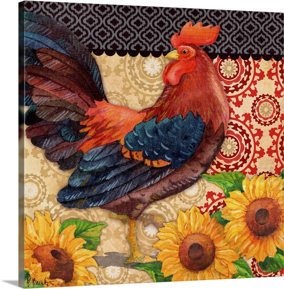 Roosters And Sunflowers I Wall Art Canvas Prints Framed Prints Wall Peels Great Big Canvas