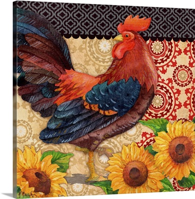 Roosters and Sunflowers I