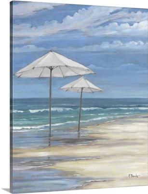 Seascape With Umbrellas - White