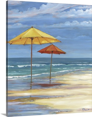 Seascape with Umbrellas - Yellow and Orange