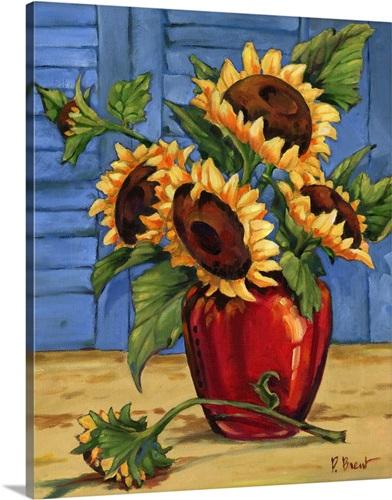 Sunflower Vase Wall Art Canvas Prints Framed Prints Wall Peels