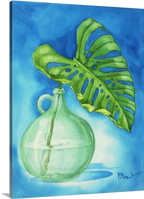 Tropical Leaf in Glass Bottle I